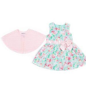 Little Lass Dresses - Little Lass Mint Floral Bow Dress & Pink Cardigan